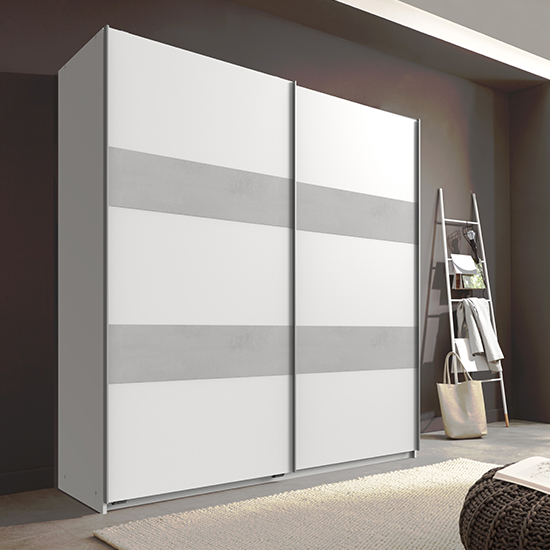 Chess Sliding Door Wooden Wardrobe In White And Light Grey