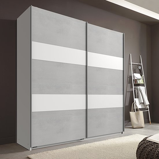 Chess Sliding Door Wide Wooden Wardrobe In Light Grey And White