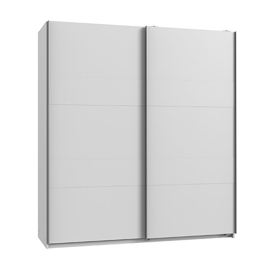 Chess Sliding Door Wide Wooden Wardrobe In White_2