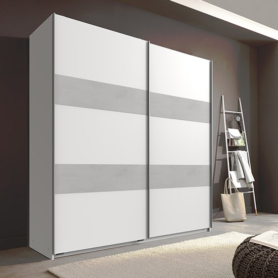Chess Sliding Door Wide Wardrobe In White And Light Grey_1