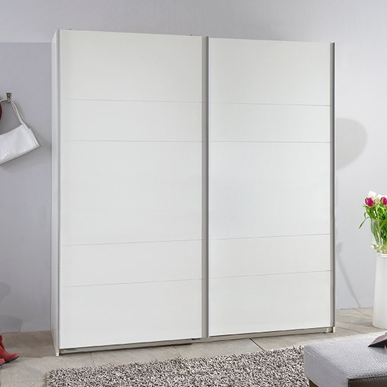 Chess Sliding Door Wide Wooden Wardrobe In White_1
