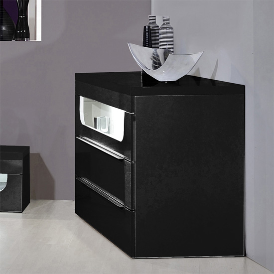 Pulse High Gloss Chest Of Drawers In Black With LED Lighting