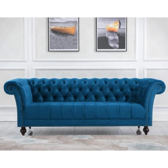 Chester Fabric 3 Seater Sofa In Midnight Blue
