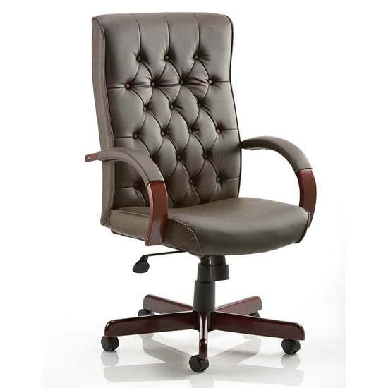 View Chesterfield leather office chair in brown with arms
