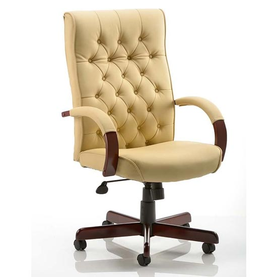 View Chesterfield leather office chair in cream with arms