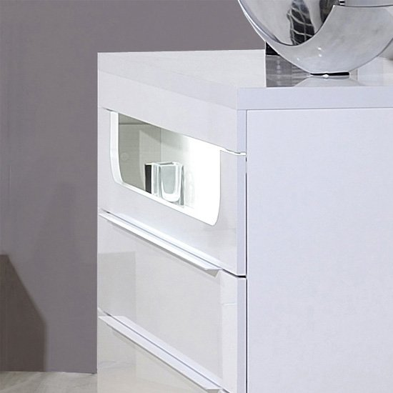 Pulse High Gloss Chest of Drawers In White With LED Lighting