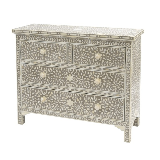Cheval Inlay Chest of Drawers In Natural With 4 Drawers