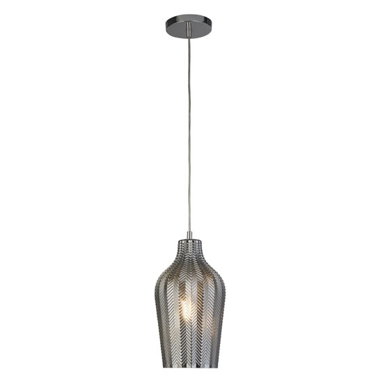 Chevron 1 Pendant Light In Chrome With Smoked Ribbed Glass