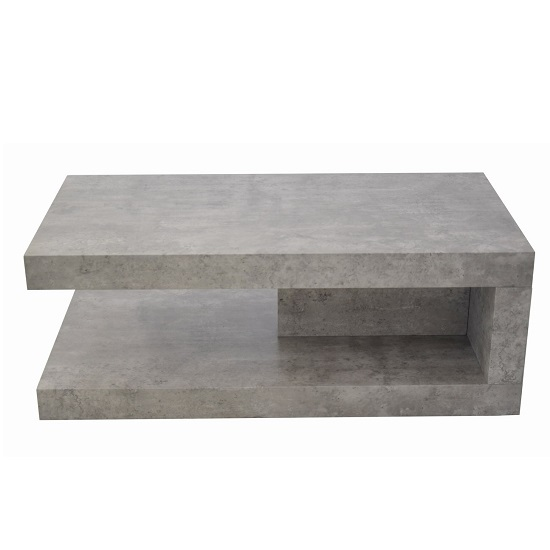 Chevron Wooden Coffee Table Rectangular In Light Concrete