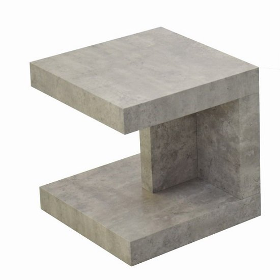 Chevron Wooden End Table Square In Light Concrete