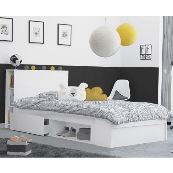 Chevron Wooden Childrens Bed In Matt White With 2 Drawers_1