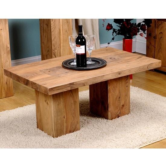 Chevron Wooden Coffee Table Rectangular In Acacia Hardwood