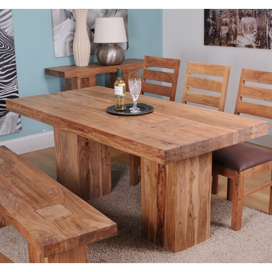 Chevron Wooden Large Dining Table In Acacia Hardwood