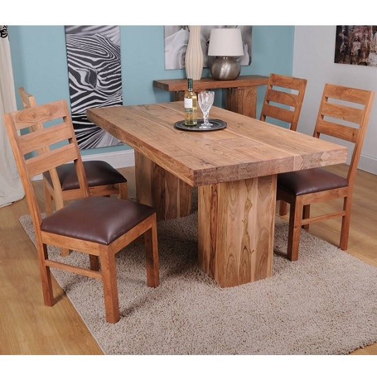 Chevron Large Dining Table In Acacia Hardwood With 6 Chairs