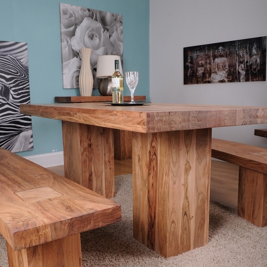 Chevron Wooden Medium Dining Table In Acacia Hardwood