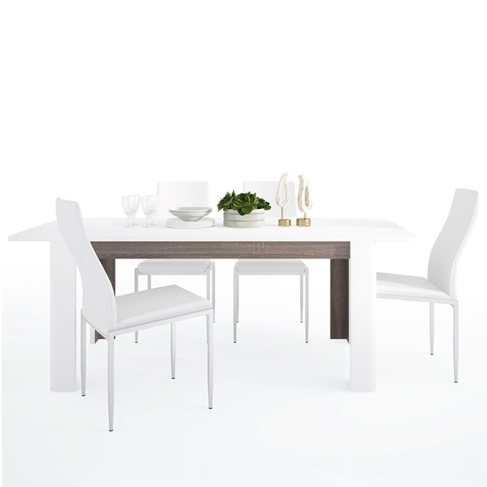 Cheya Extending High Gloss Dining Table With 4 Mexa White Chairs