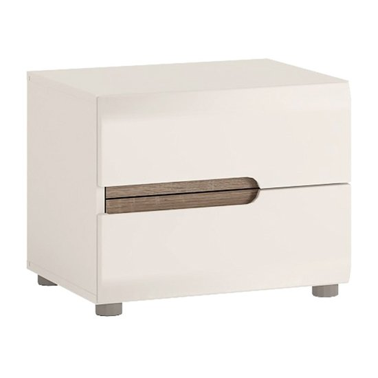 Cheya Gloss 2 Drawers Bedside Cabinet In White And Truffle Oak