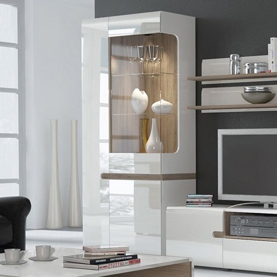 Cheya LED Wide Left Handed Display Unit In White Gloss And Oak