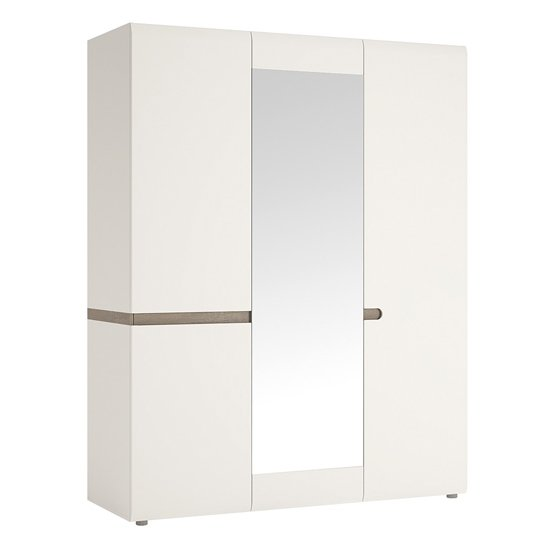 Cheya Mirrored 3 Doors Gloss Wardrobe In White And Truffle Oak