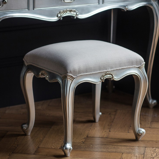 Chic Dressing Stool In Silver With Cotton Seat