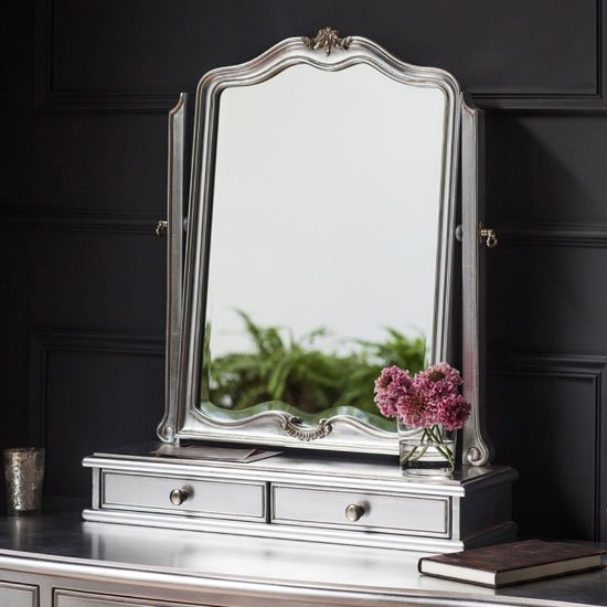 Chic Dressing Table Mirror In Silver