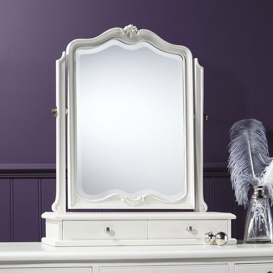 Chic Dressing Table Mirror In Vanilla White