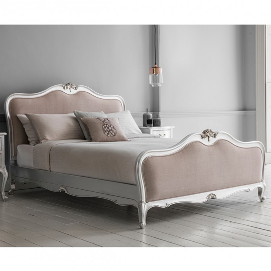 Chic Mahogany Wooden King Size Bed In Silver
