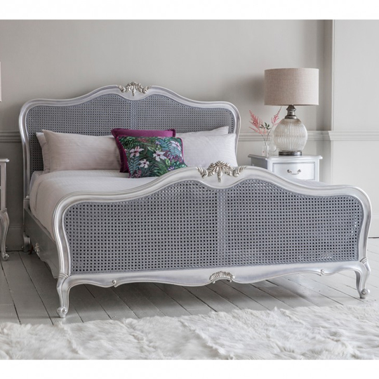 Chic Mahogany Wooden Super King Size Bed In Silver