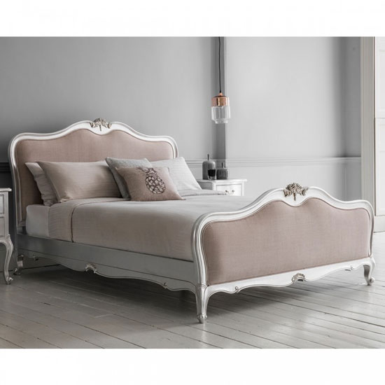 Chic Mindy Ash Wooden King Size Bed In Silver