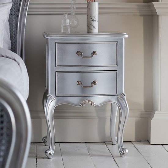 Chic Wooden Bedside Cabinet In Silver With 2 Drawers_1