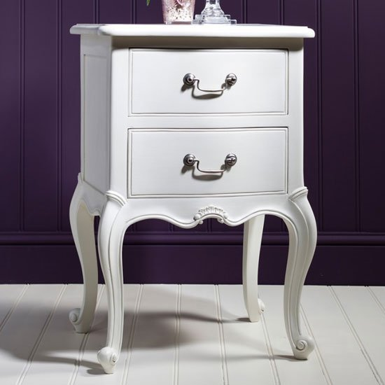 Chic Wooden Bedside Cabinet In Vanilla White With 2 Drawers