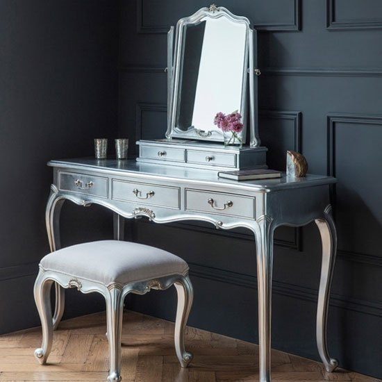 Chic Wooden Dressing Table Only In Silver