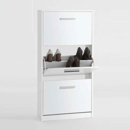 Cabinets Chic3 Shoe Cabinet In White With High Gloss Front