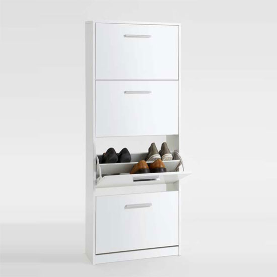 chic4 white shoe cabinet with high gloss front 469 004