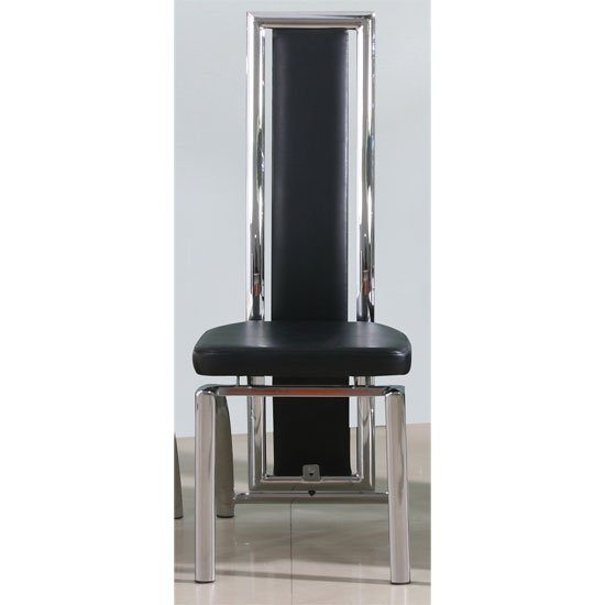 Chicago Dining Chair In Black Faux Leather With Chrome Legs