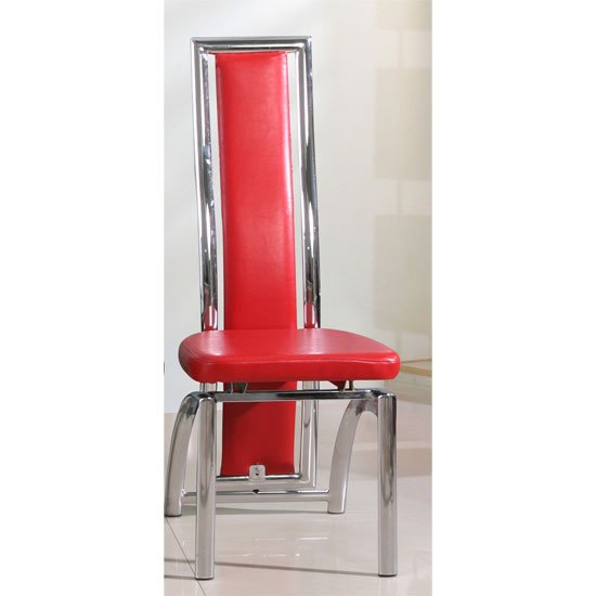 Chicago Dining Chair In Red With Padded Seat and Chrome Frame