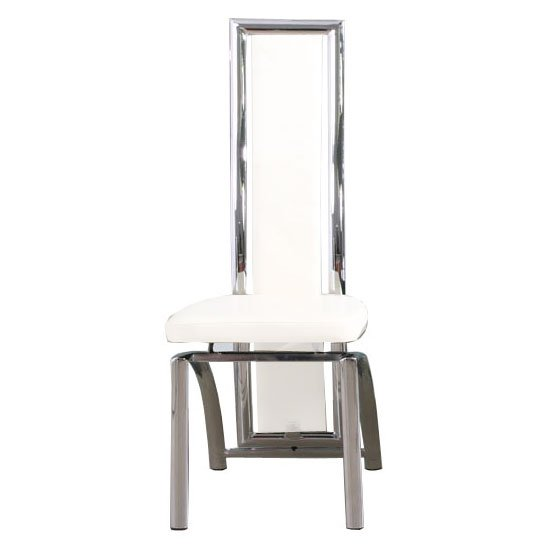 Chicago Faux Leather Dining Chair In White With Chrome