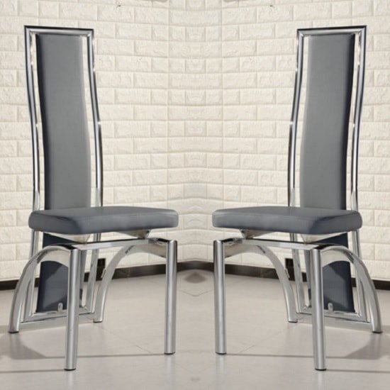 Chicago Dining Chairs In Grey Faux Leather In A Pair