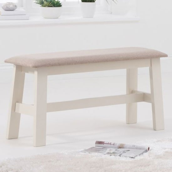Chichester Cream Small Dining Bench With Cream Fabric Seat