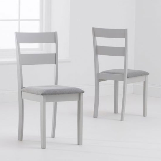 Chichester Grey Fabric Padded Dining Chair In A Pair