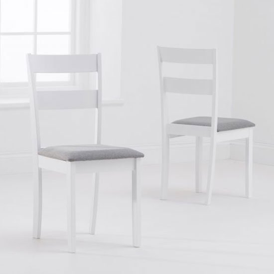 Choster White And Grey Fabric Padded Dining Chair In A Pair
