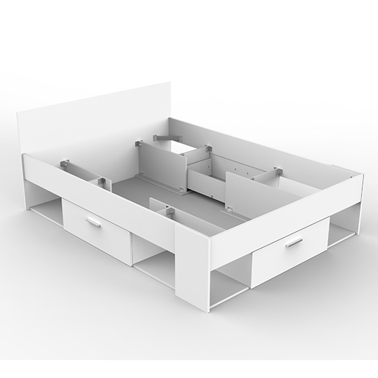 Chigona Overhead Storage Double Bed In Matt White With Drawers_3