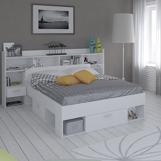 Chigona Overhead Storage Double Bed In Matt White With Drawers_1