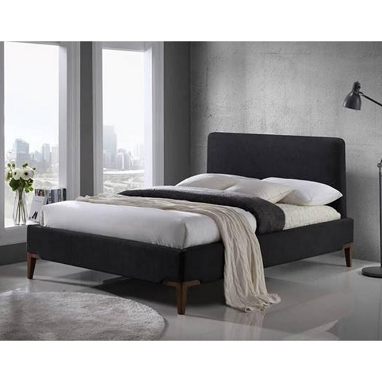 Chile Modern Fabric Bed In Black With Wooden Legs