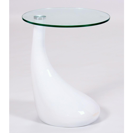 Chilton Glass Lamp Table In White High Gloss