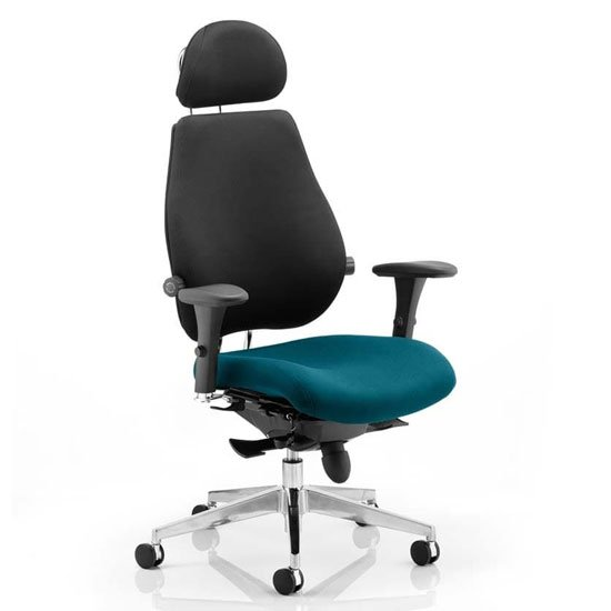 Chiro Black Back Headrest Office Chair With Maringa Teal Seat_1