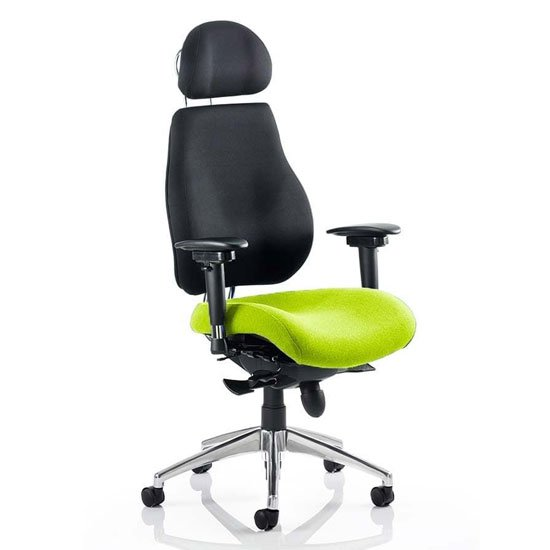 Chiro Black Back Headrest Office Chair With Myrrh Green Seat