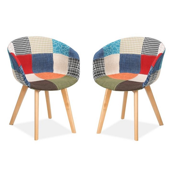 Chiro Dining Chairs In Patched With Wooden Legs In A Pair_1
