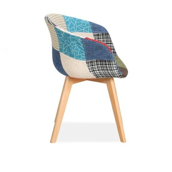 Chiro Dining Chairs In Patched With Wooden Legs In A Pair_3