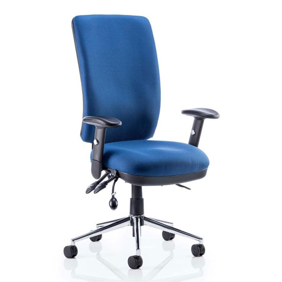 Chiro Fabric High Back Office Chair In Blue With Arms